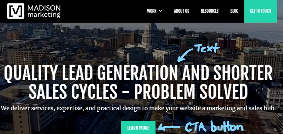 H1 title, lead text, and CTA button on site homepage