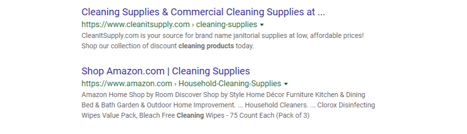 organic search results for cleaning supplies