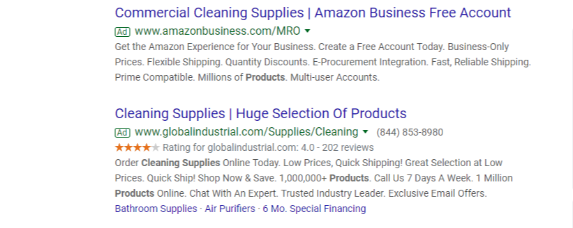 paid search results for cleaning supplies