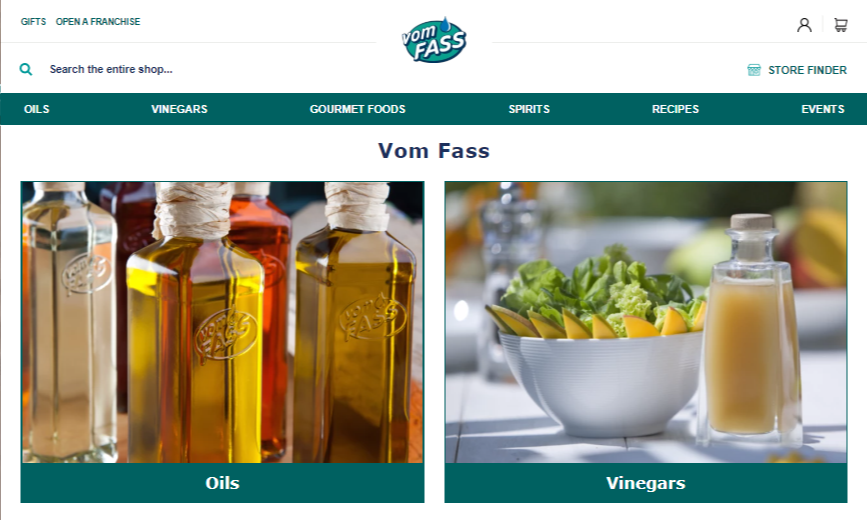 photos of oils and vinegars on cleanly designed website