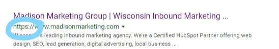 https in web address in madison marketing group in search result
