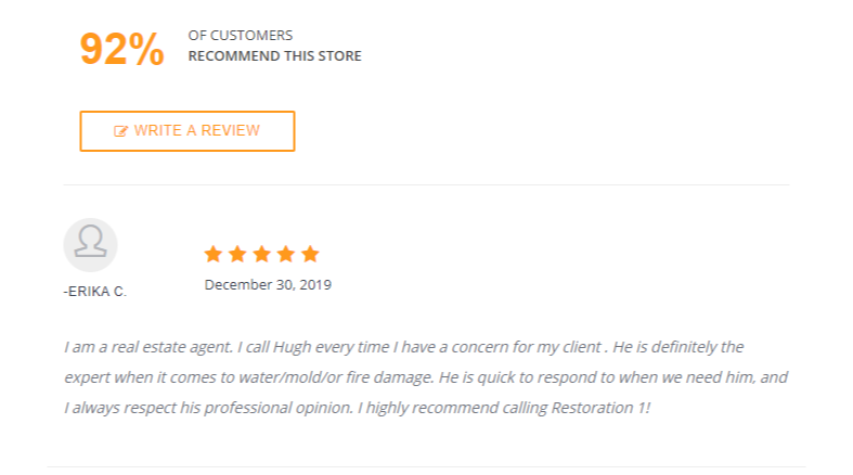 restoration 1 client review with five star rating
