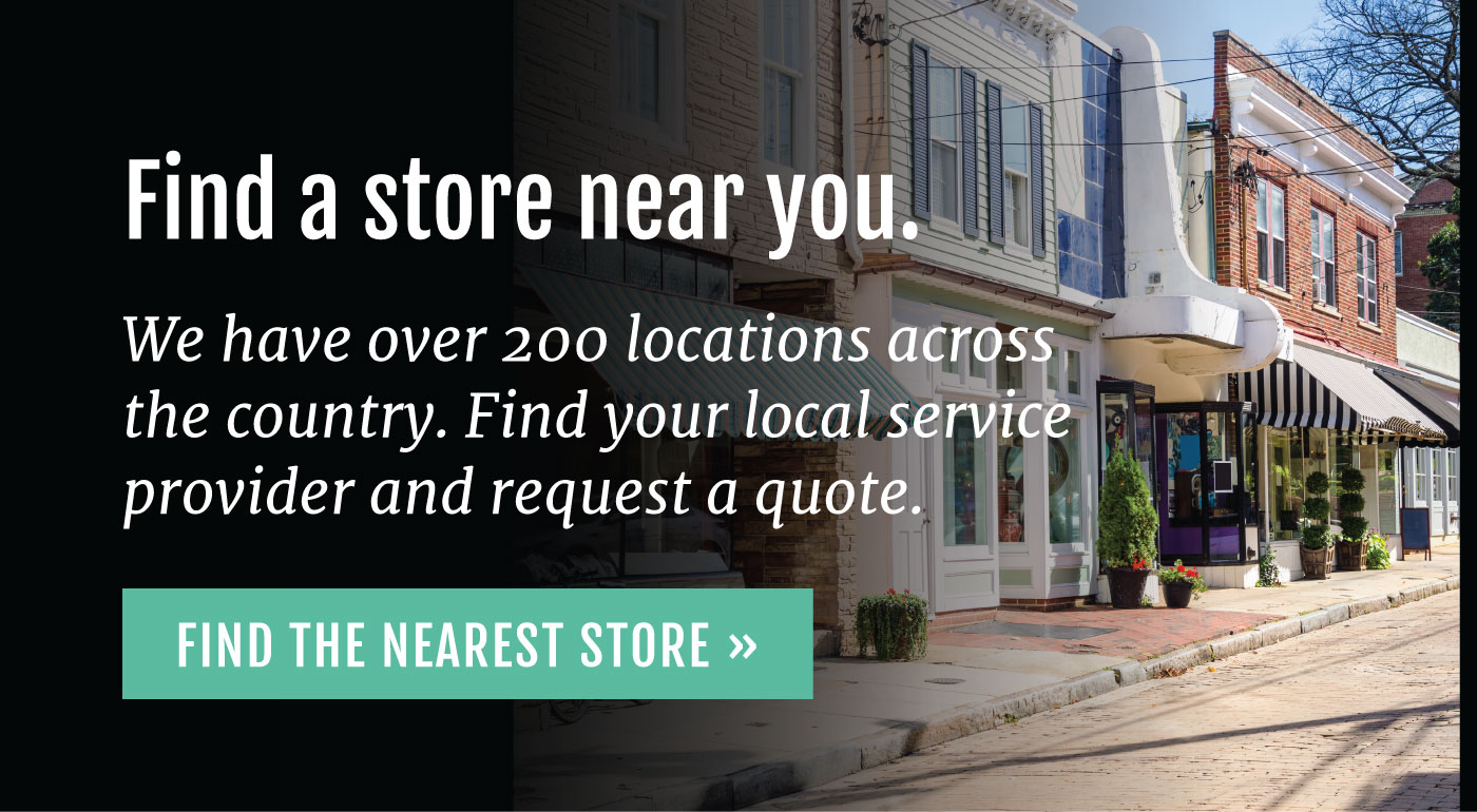 store finder CTA with street and local businesses in background