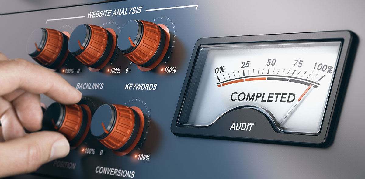 SEO control panel illustration with knobs for website analysis and meter showing 100 percent complete status