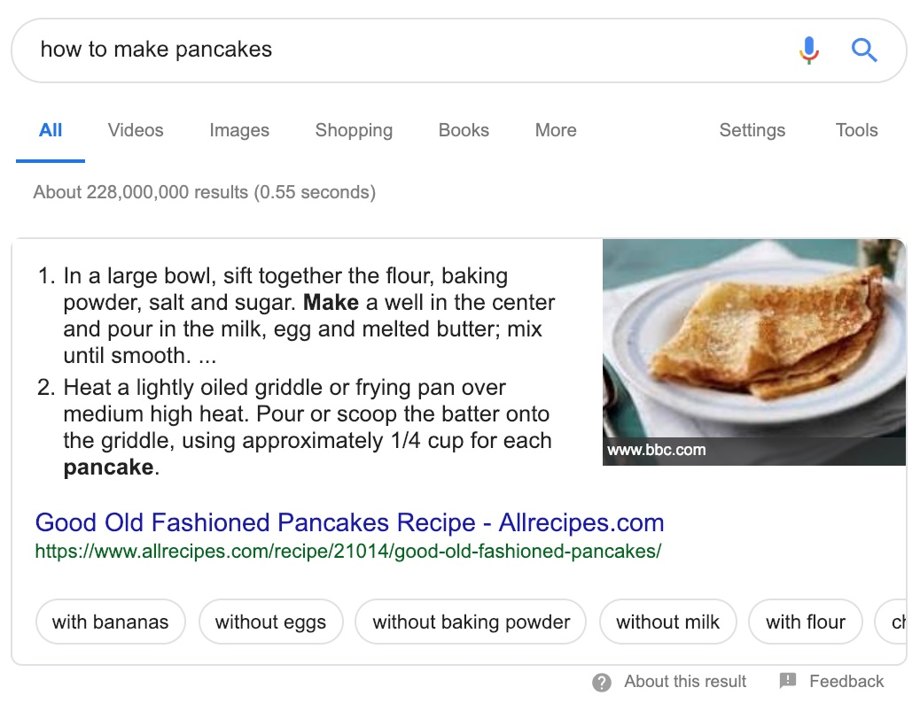 how to make pancakes recipe with photo of pancake in search results